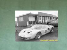 "FORD GT40 Ron Fry's car by the diner in Silverstone paddock c.1967 . 10x7"" photo"